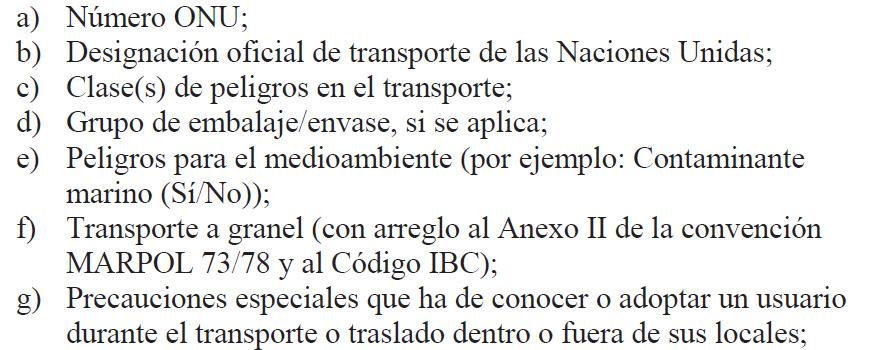 Información relativa al transporte